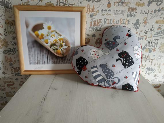 Grey Heart shaped pillow, best friend birthday gift idea, valentines day cat decor, anniversary gift idea
