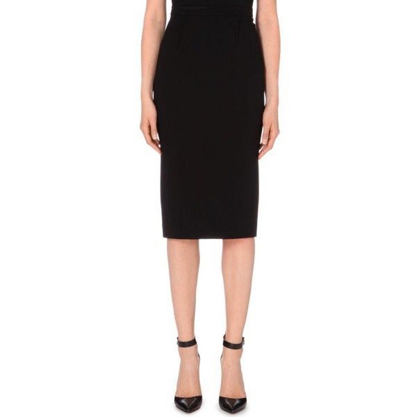 ROLAND MOURET Arreton wool-crepe pencil skirt ($695) ❤ liked on Polyvore featuring skirts, azure, woolen skirts, black skirt, wool pencil skirt, wool skirt and pencil skirt