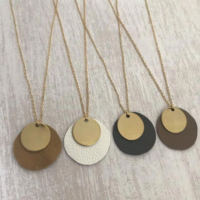 Photo of Dainty Gold + Leather Necklace // Pendant Necklace // Single Gold Disc // Leather Charm // Dainty Jewelry // Gold Necklace