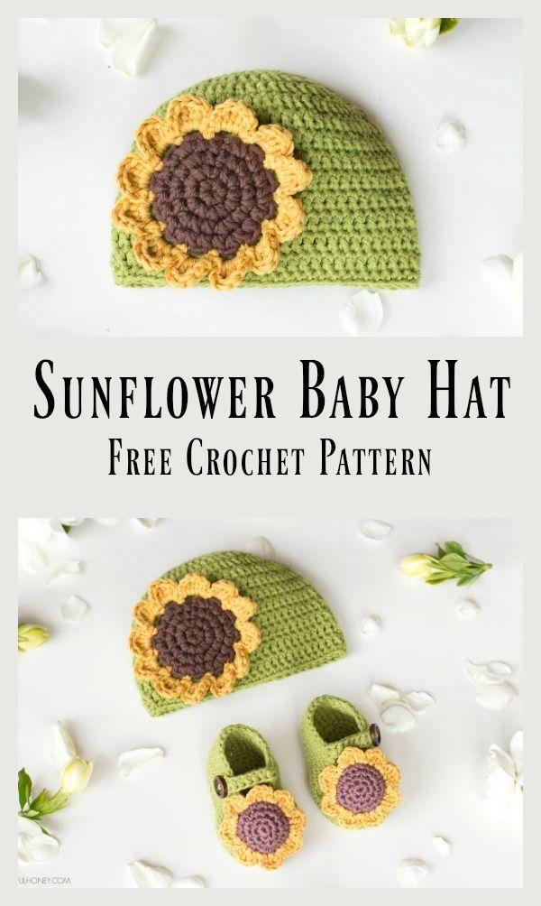 Sunflower Baby Beanie Hat Free Crochet Pattern | Crochet | Pinterest