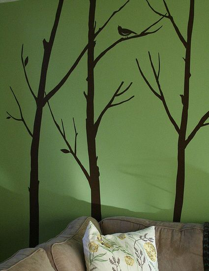 Great wall art idea with trees Judy could paint this in my bedroom   Great wall art idea with trees Judy could paint this in my bedroom     Living  Room GreenLiving  . Green Living Room Walls. Home Design Ideas