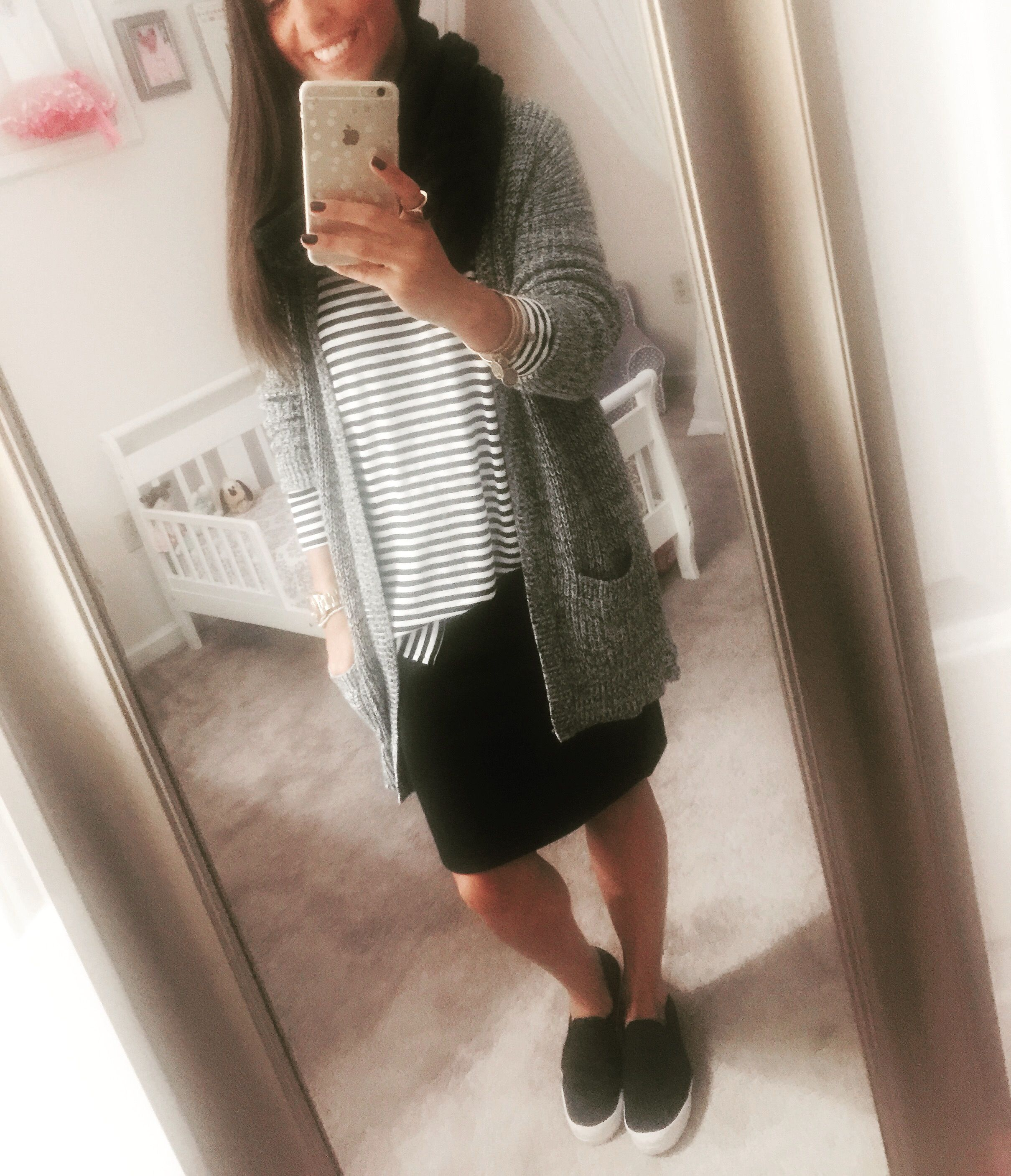 Black and white striped dress shirt (Old Navy), black pencil skirt ...