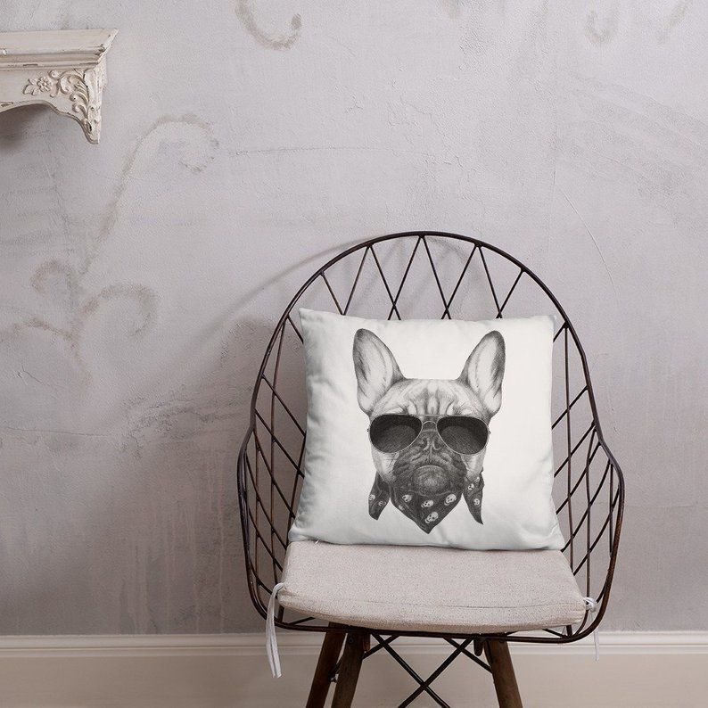French Bulldog, Frenchie, Funny bulldog, Square pillow, decorative throw pillow, room decor, dog lover, bulldog #funnybulldog