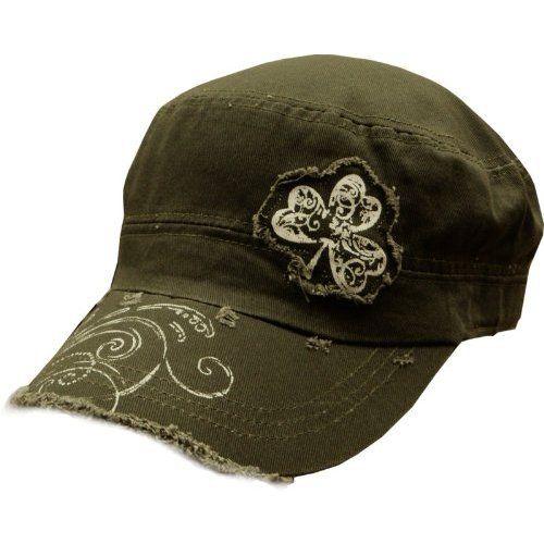 8b622e9aa9115 Amazon.com  Irish Shamrock Vintage Military Cadet Hat (Olive Green)   Clothing