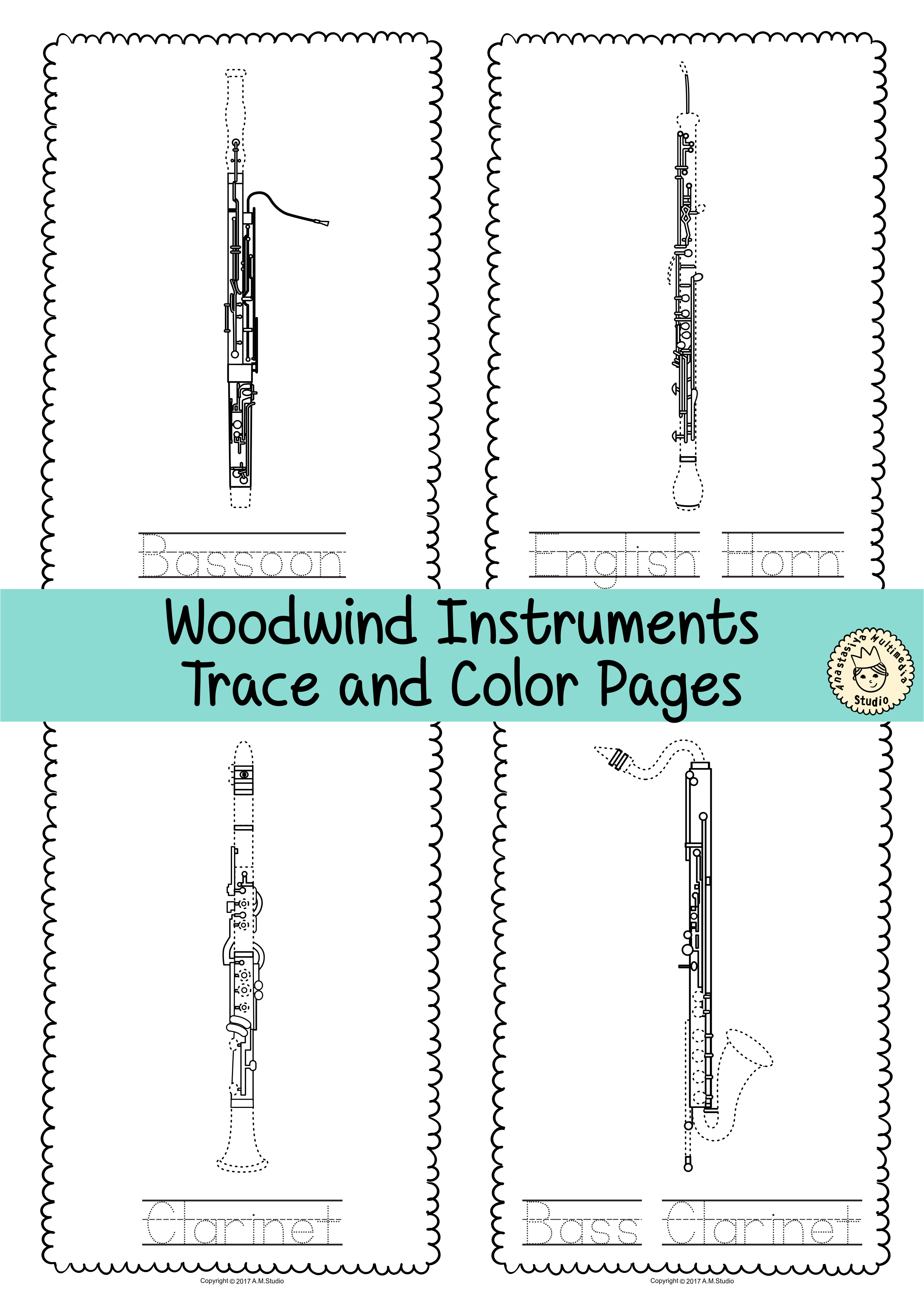 This File In PDF Form Contains 15 Woodwind Instruments Trace And Coloring Pages