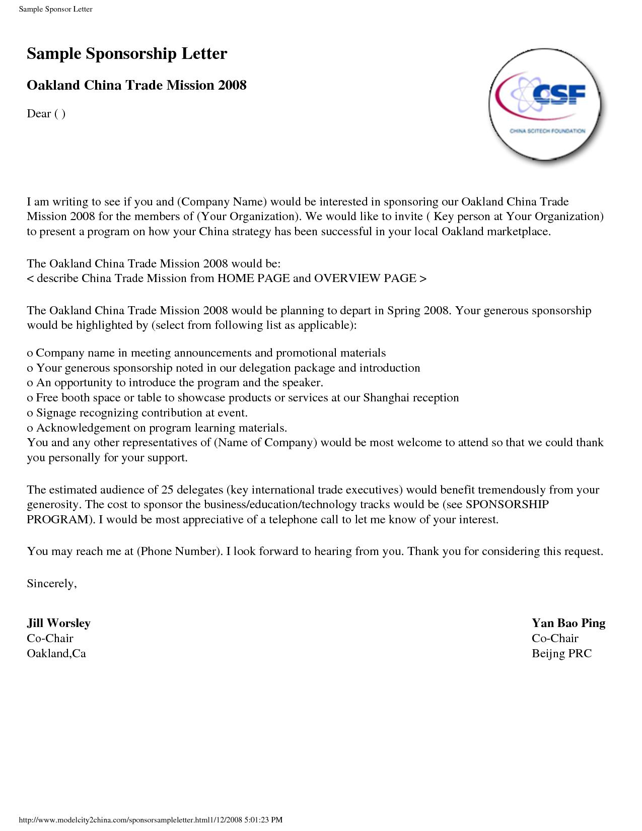 Sponsorship Letter Template   Sponsorship Letter Examples Sample Resume Crna Resumes Design