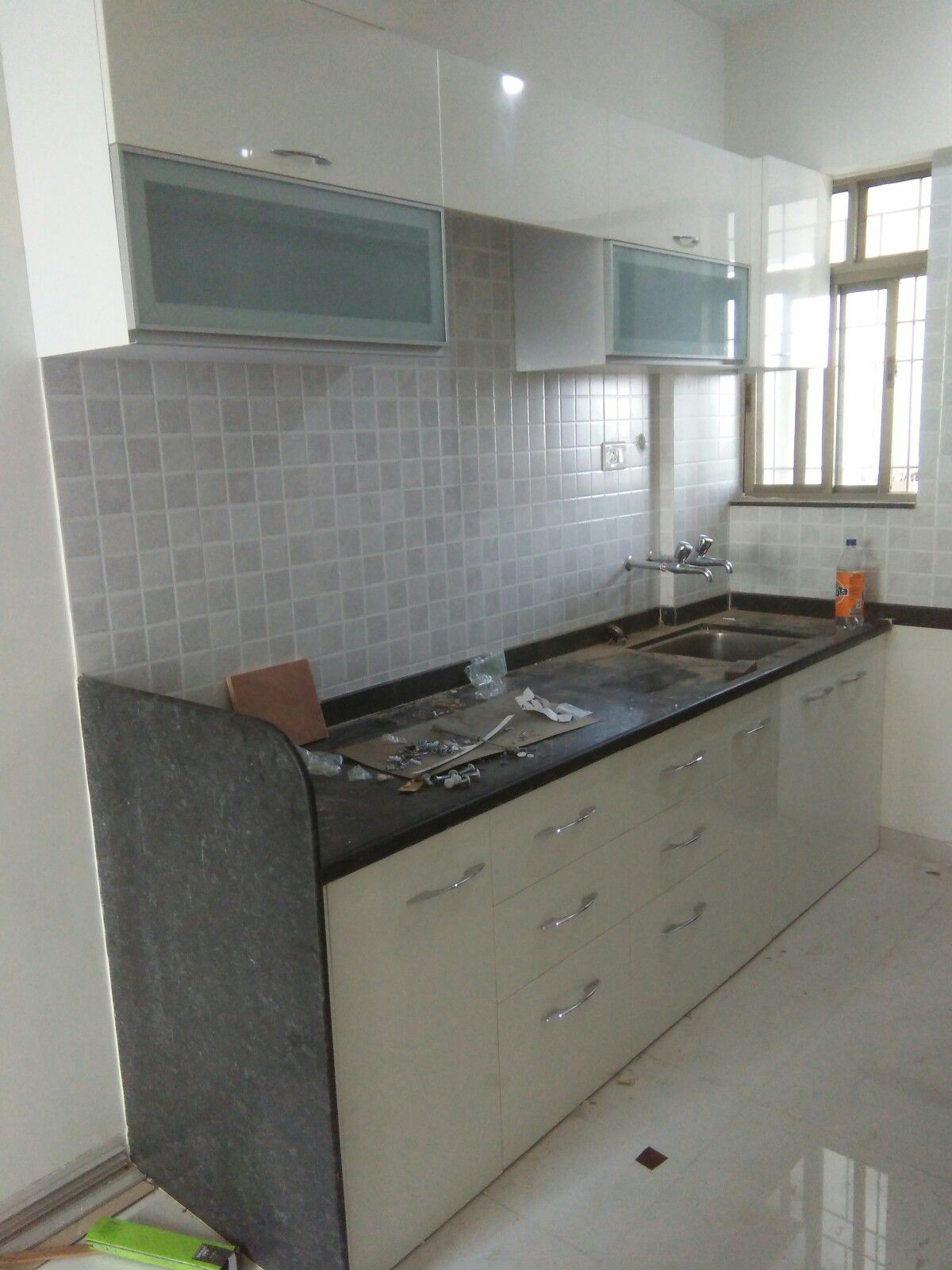 Parallel Modular Kitchen, Wall Unit, Wall Cabinets, Profile Door, White  Kitchen,