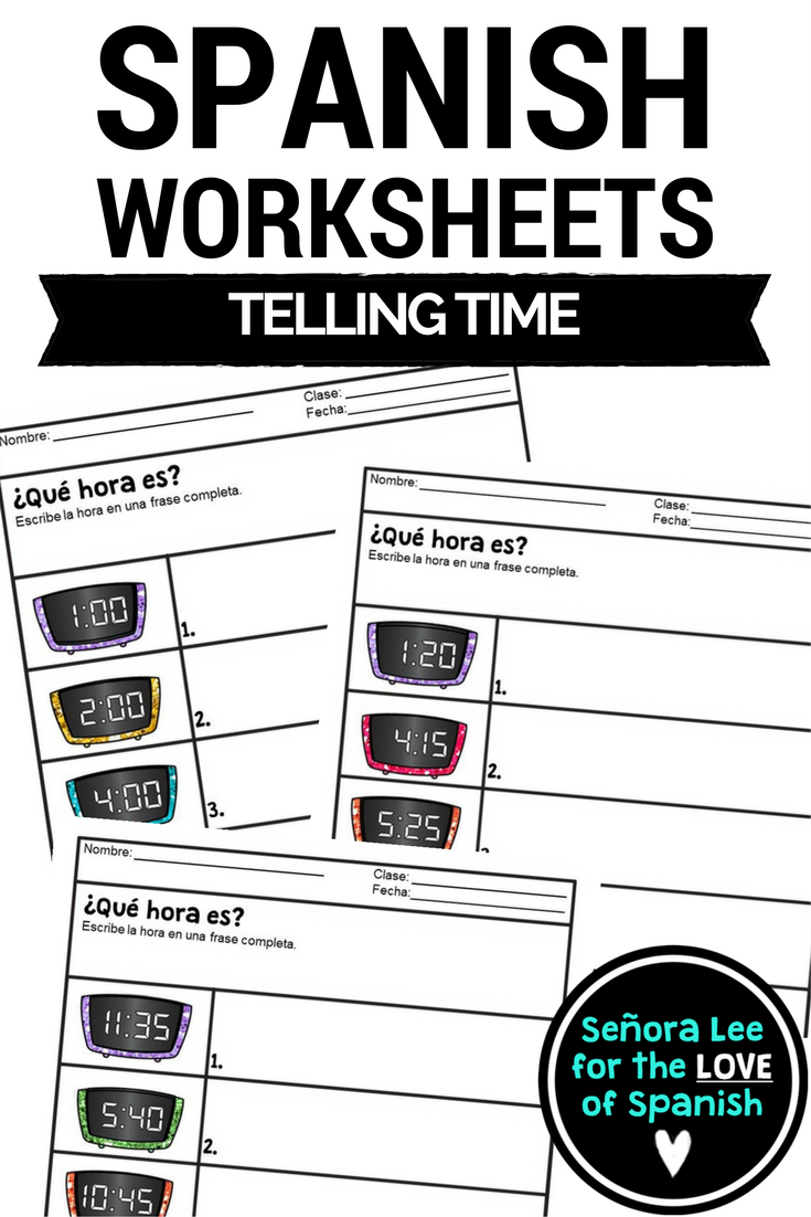 Spanish Time Worksheets Telling Time In Spanish Spanish