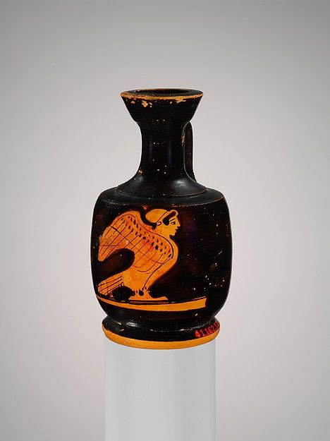 Attributed to the Seireniske Painter | Miniature terracotta squat lekythos (oil flask) with siren | Greek, Attic | Classical | The Met