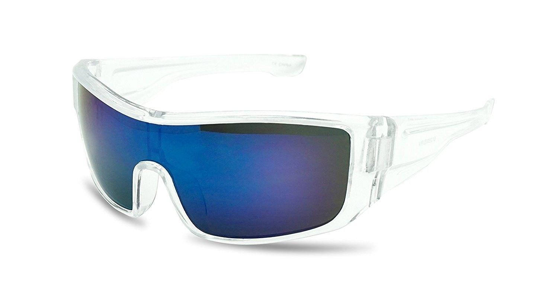 Mens Sport Wrap around Shield Polarized Sunglasses fishing orange mirror lens
