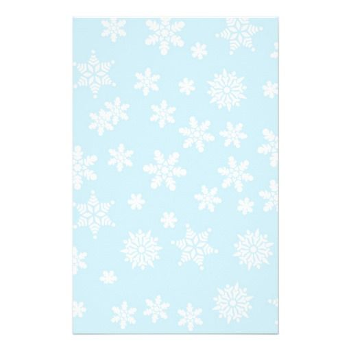 White Snowflakes on Light Blue Background Stationery shipping to Cambridge, MA
