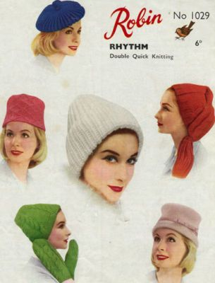 60s Hats Caps Ladies Knitting Pattern Vintage Retro