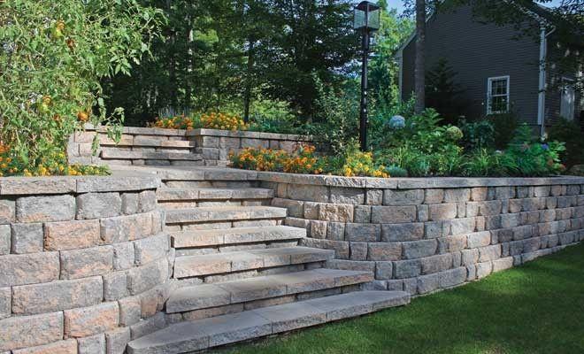 Anchor Highland Stone Retaining Wall Medium Landscaping Retaining Walls Backyard Landscaping Backyard