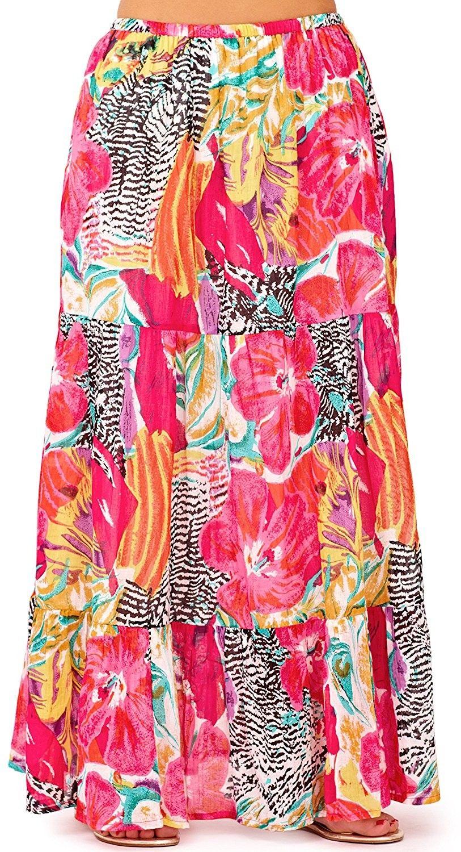 bb3f021be6aa Ladies Tropical Hawaiian Style Summer Long Skirt Dress - Pink ...