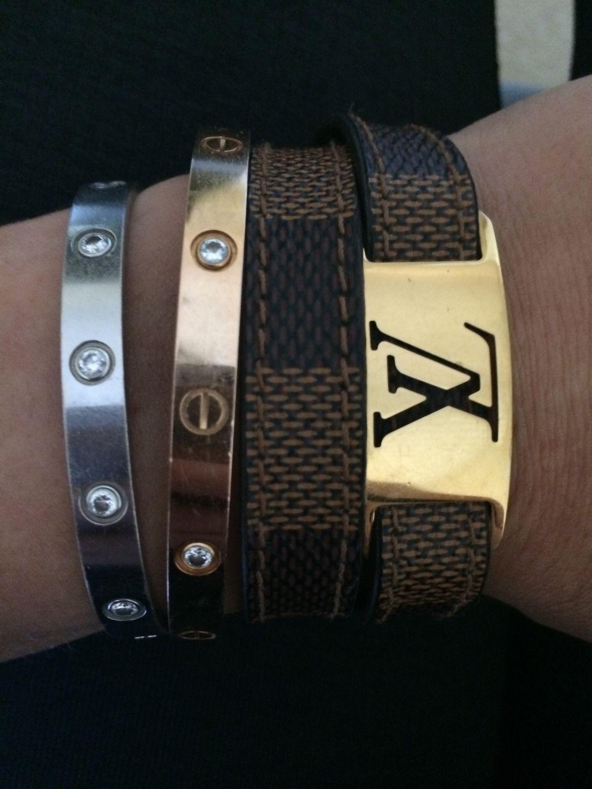 Auth Louis Vuitton Uni Graphite Canvas Leather Sign It Men S Bracelet Bangel Cartier Mens