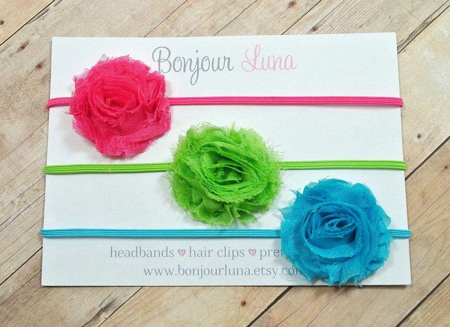 Mini Shabby Flower Headbands  Baby Headbands  Hot by BonjourLuna, $12.95