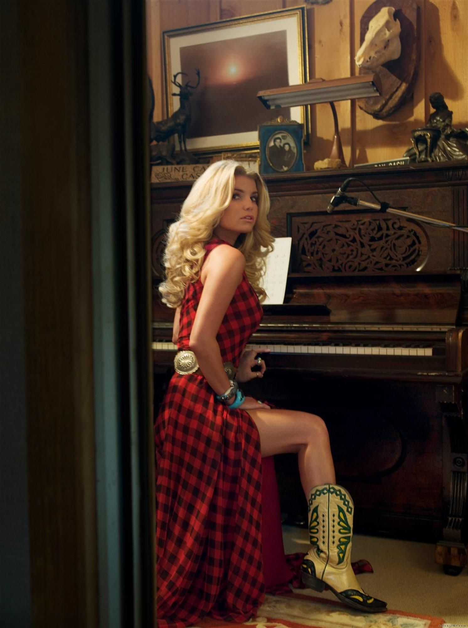 64f8f5832bc4 Jessica Simpson cowboy boots and piano