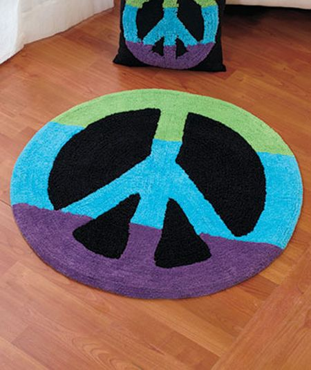 Peace Sign Multi Color 30 Round Accent Throw Rug Hippie Kids Dorm Decor