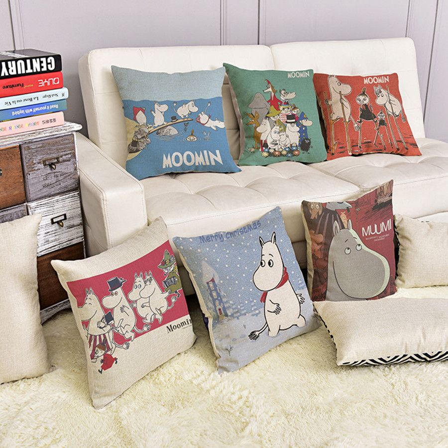 Cotton linen throw decorative pillowcase cushion cute cartoon moomin