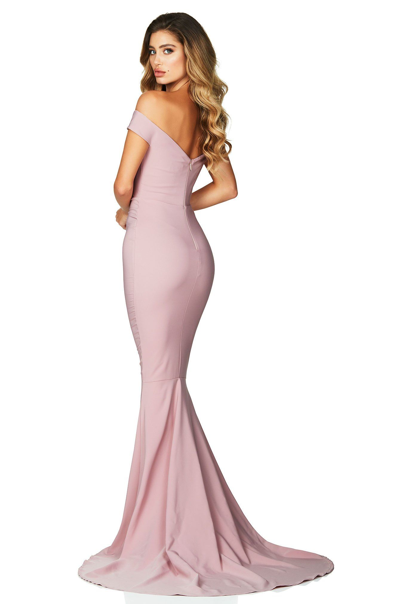 c5a8b59b61fe Classic and beautiful, the Nookie Allure Gown in Dusty Pink features an off  the shoulder neckline with a structured bodice and mermaid hem.
