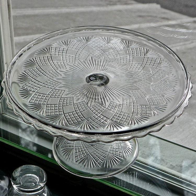 EAPG Cake Stand Pedestal FLATTENED DIAMOND AND SUNBURST 1870 Gorgeous Excellent
