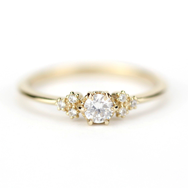 Diamond engagement ring minimalist ring diamond engagement | Etsy