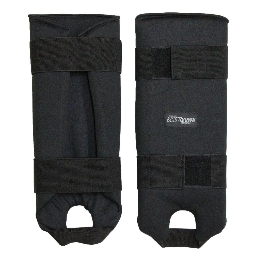 Shin Protectors Pads Guards Black Sectional Paddings Velcro Straps Foam MMA New