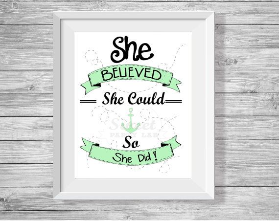 """Hand Drawn Quote Printable Wall art. Mint """"She Believed she could so she did,  Typography quote"""" -Typography poster D129"""