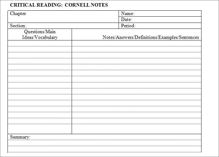 Cornell Notes Template   Free Word Pdf Format Download