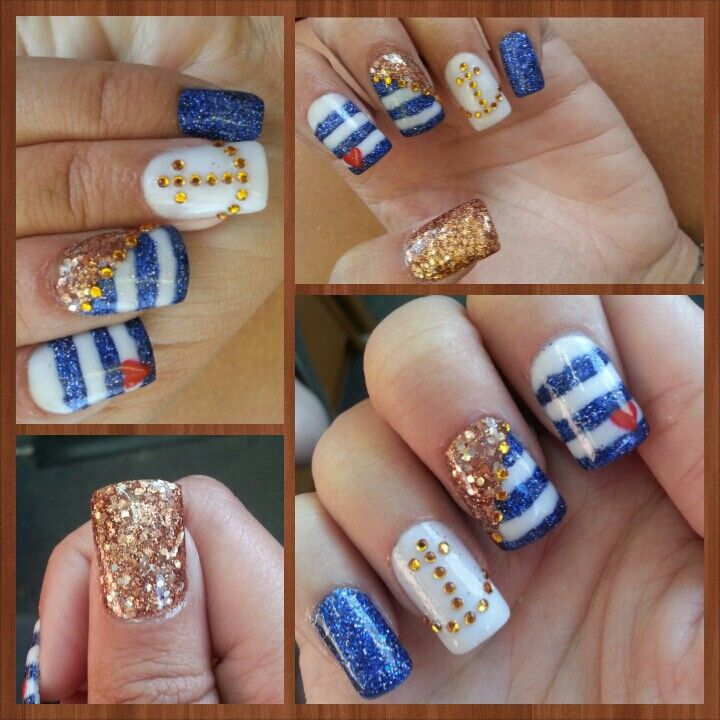 Nautical nails with anchor navy blue and gold nails   nails ...