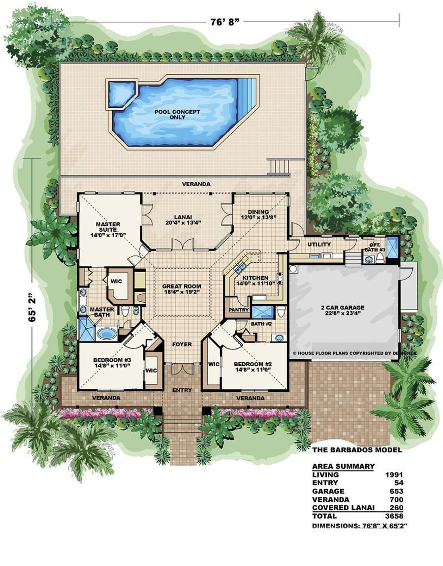 Hpm Home Plans Home Plan 014 1991 In 2021 Florida House Plans Coastal House Plans House Plans