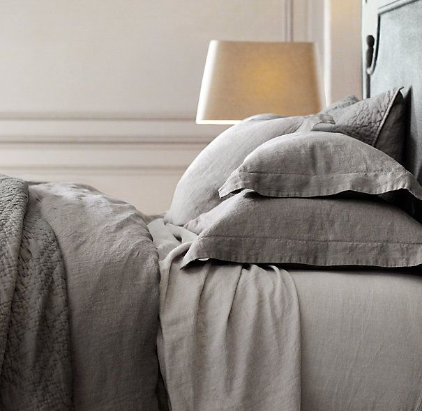 stonewashed belgian linen bedding collection // rh // king duvet