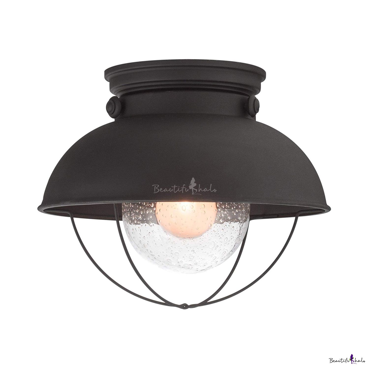 Dome Flush Mount Light With Clear Seeded Glass Single Industrial Ceiling Light In Matte Black Ceiling Lights Industrial Ceiling Lights Flush Mount Lighting