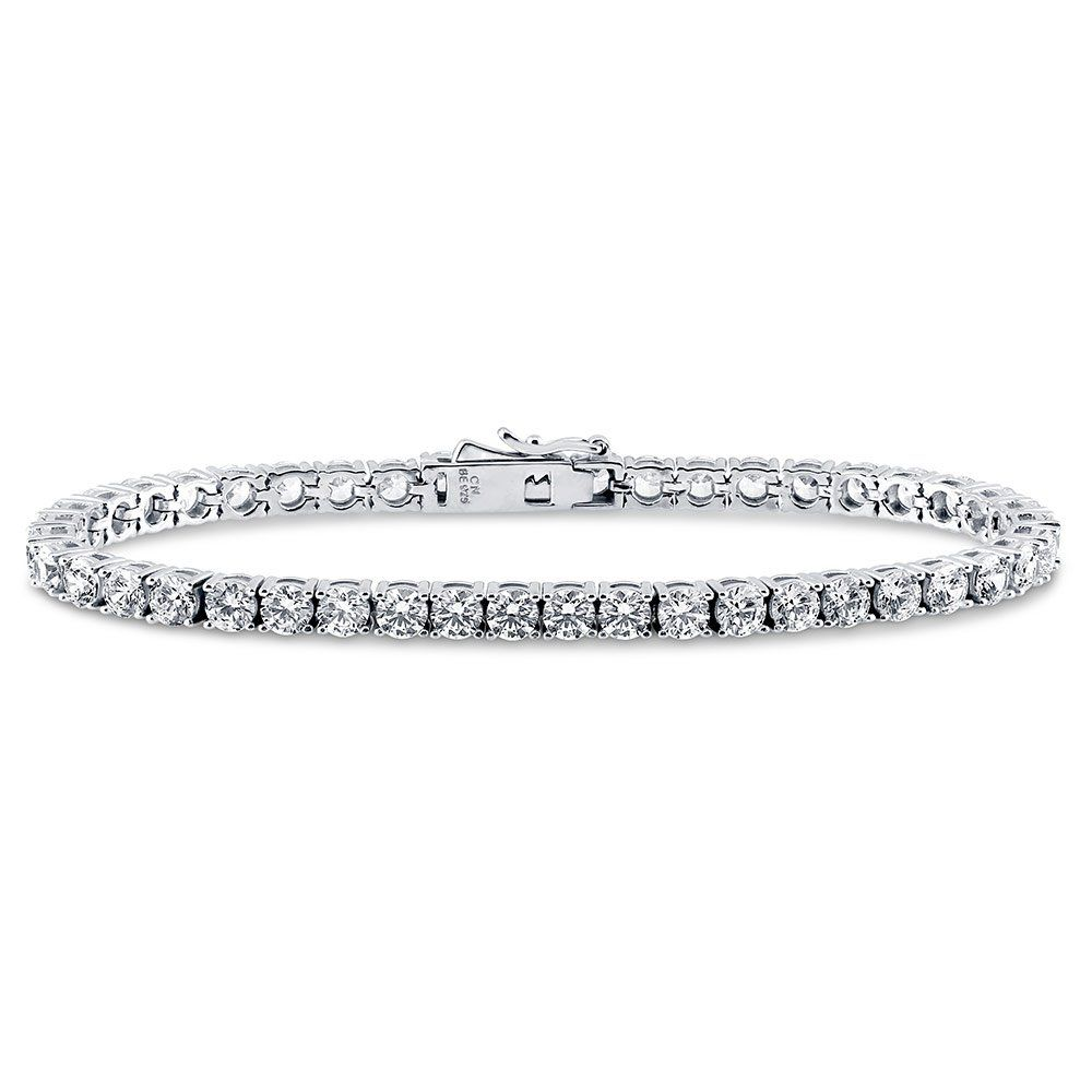 """BERRICLE Rhodium Plated Sterling Silver Tennis Bracelet Made with Swarovski Zirconia 7.5"""". Metal: rhodium plated .925 sterling silver, nickel free. Stone: 11.25 carat round cut clear Swarovski zirconia. Chain: 7.5 inch in length, 4mm in width, box with tongue and safety."""