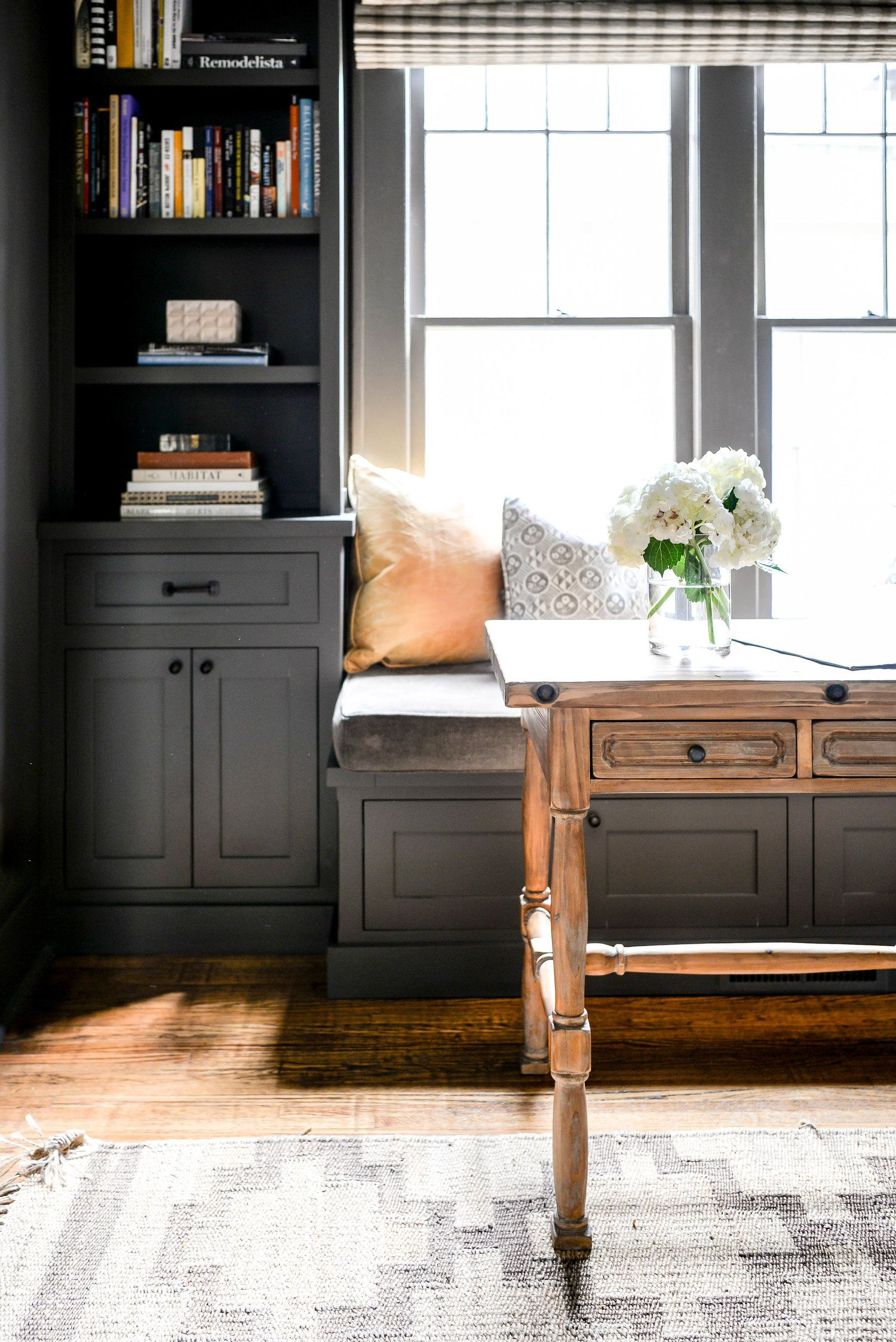 What An Amazing Home Office With Dark Built Ins Painted The Same Color As The Walls Rustic Wood Traditional Desk W Home Office Design Office Built Ins Home
