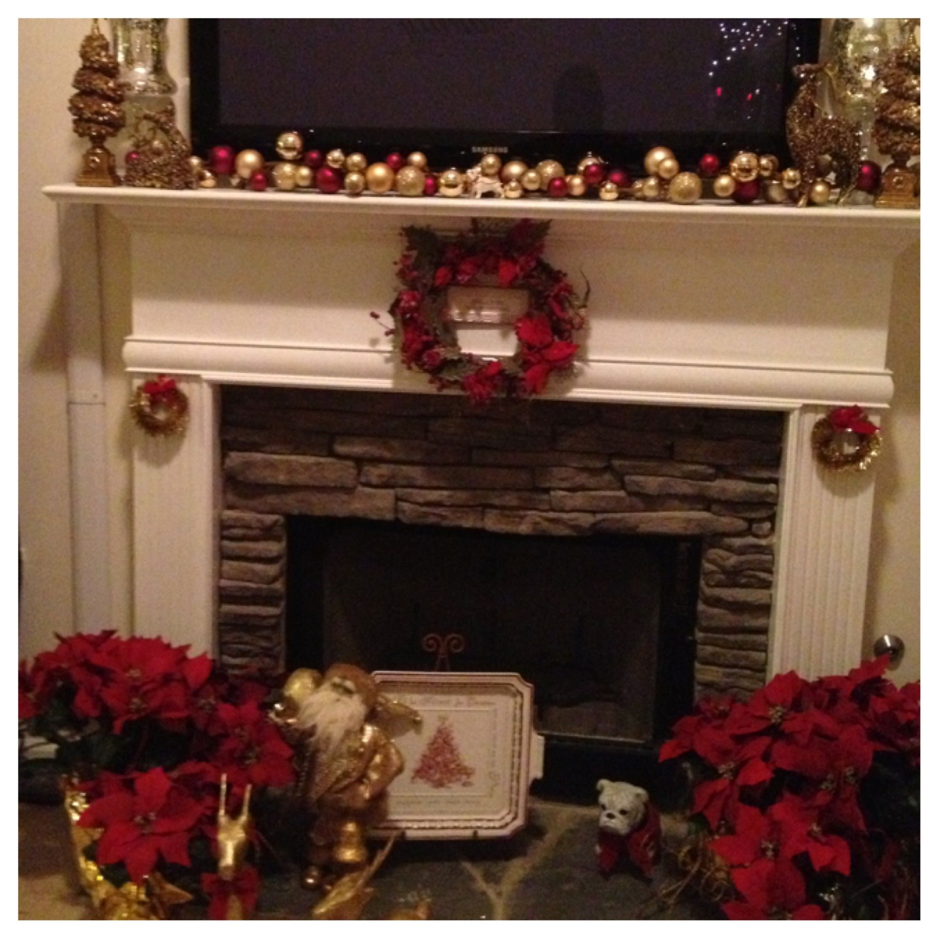 Fireplace and mantle with tv above   Christmas fireplace decor ...
