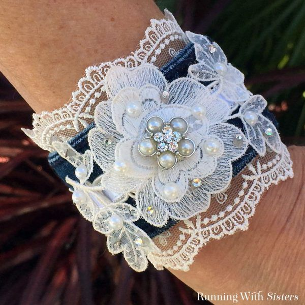 Lace And Denim Cuff Bracelet - Running With Sisters