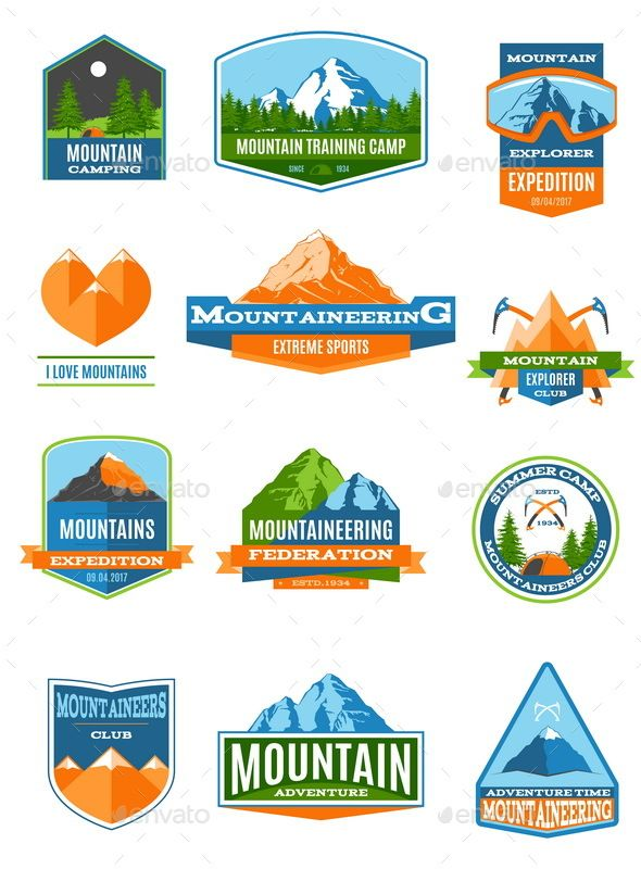 Mountaineering Labels And Badges | Badges, Psd templates and Template