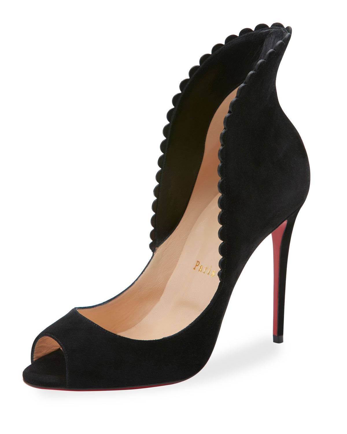 4bbce5c93d9 Pijonina Scalloped 100mm Red Sole Pump, Black | Shoes | Shoes ...