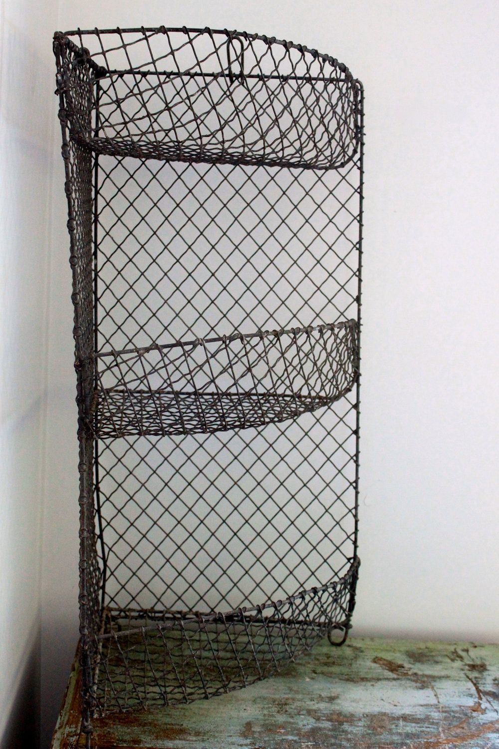 Antique French Wire Tired Basket Fruit Vegetable Bin