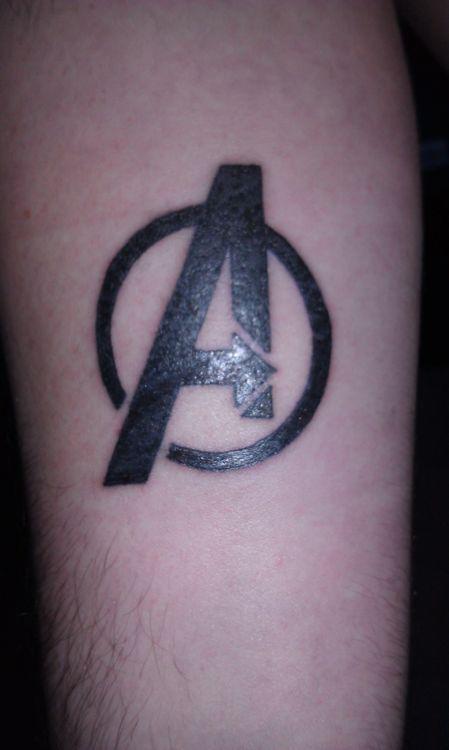dbd0bcca2568f The Avengers logo tattoo | Tattoo Ideas | Avengers tattoo, Marvel ...