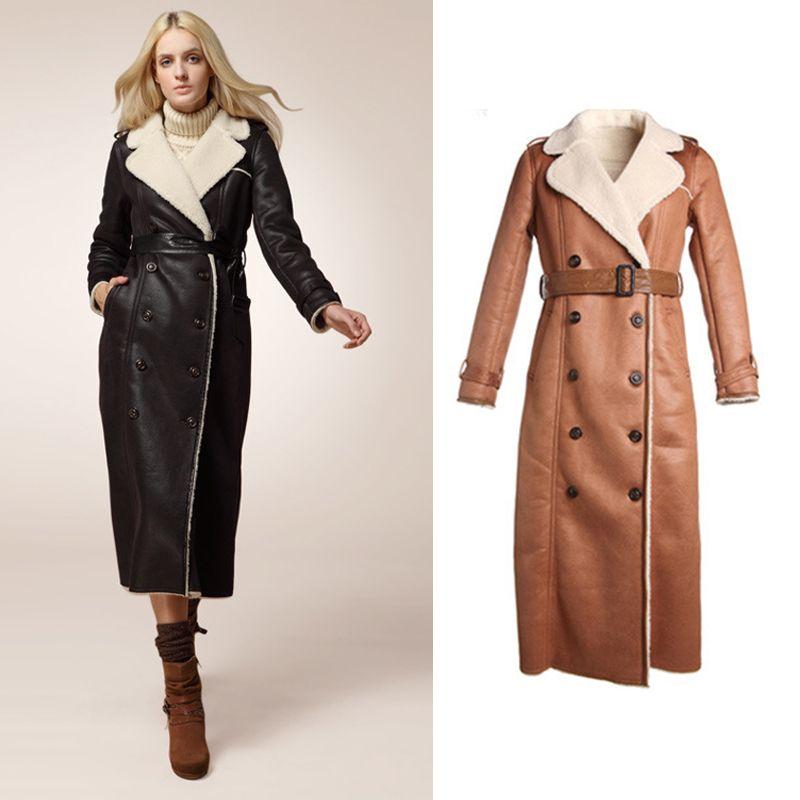 2014-Women-Fashion-Extra-Long-Leather-font-b-Jacket-b-font-Double ...