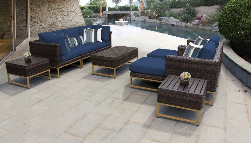 Amalfi 10 Piece Outdoor Wicker Patio Furniture Set 10c In Navy Tk Classics Amalfi 10c In 2021 Wicker Patio Furniture Set Wicker Patio Furniture Patio Furniture Sets