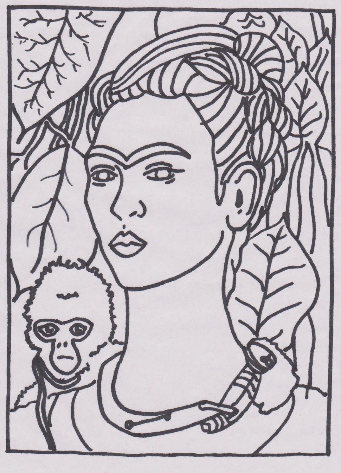 5 frida coloring pages youll love - Mona Lisa Coloring Page Printable