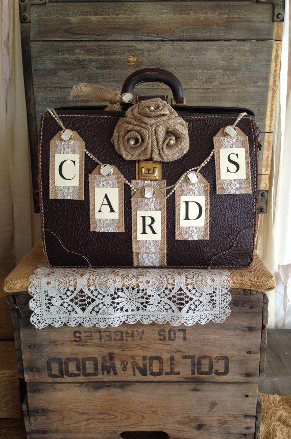 vintage suitcase wedding card holder