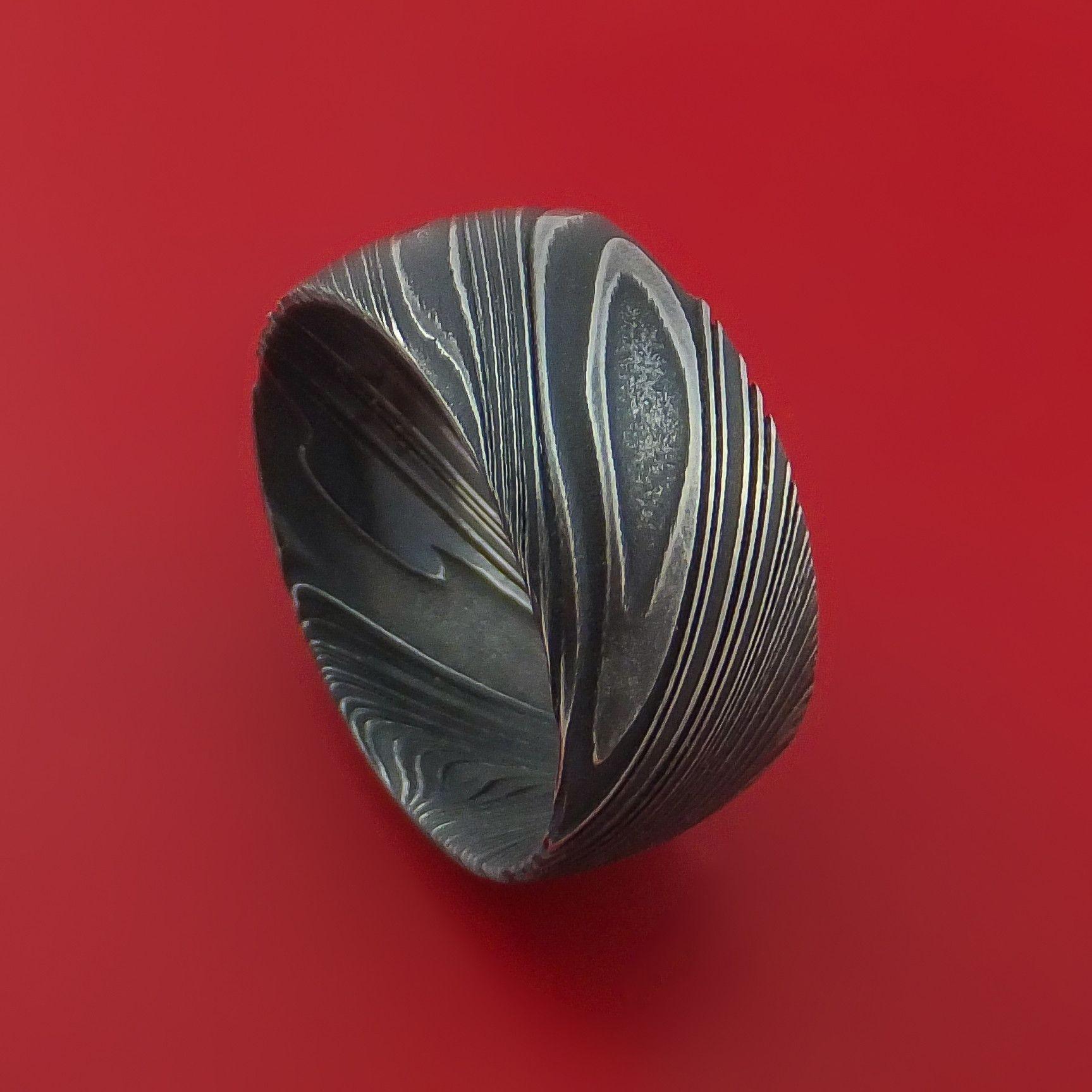 Kuro Damascus Steel Ring Wide Wedding Band Genuine Craftsmanship