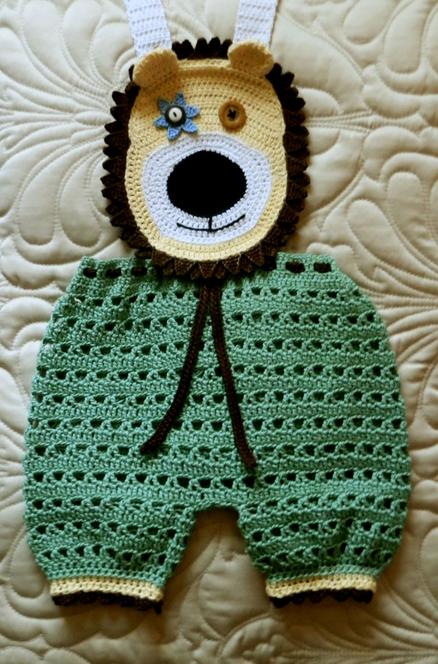 Baby Boy Crochet Pattern PDF 9 to 12mo Overall Shorts DANDELION Lion ...
