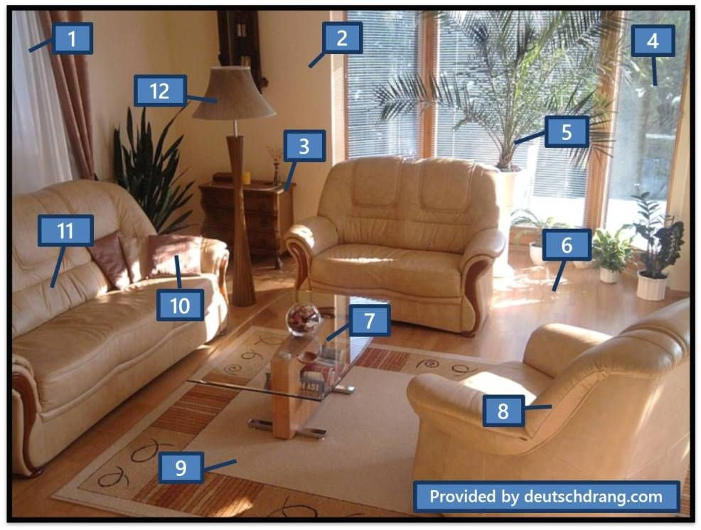 Living room furniture. Beginnerlevel online vocabulary