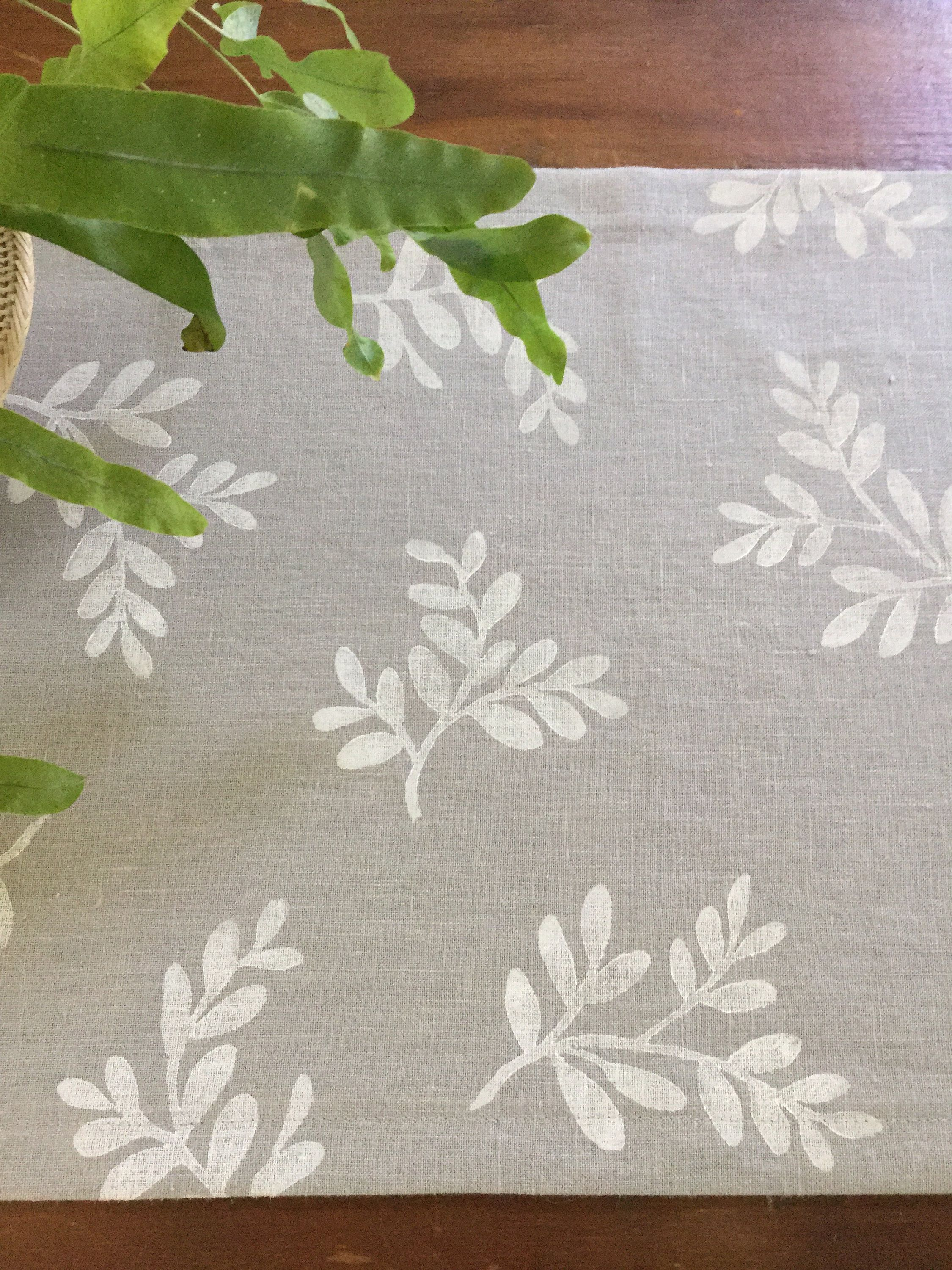 Printed Gray Linen Table Runner Cloth With White Block Print Design Handprinted For Dining Room Or Dresser By Calendulahandmade On