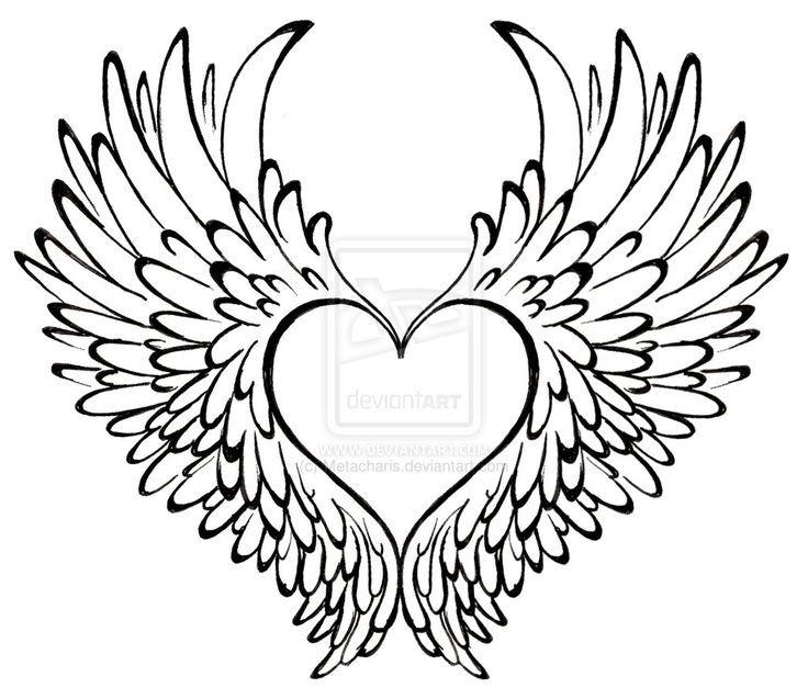 Resultado de imagem para coração com asas para colorir | Gatinhos ...